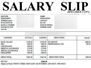 How Understand Salary Slip Format India