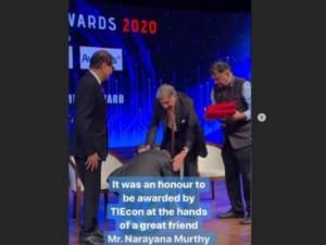 Infy Narayana Murthy Touches Ratan Tata Feet Photo Viral